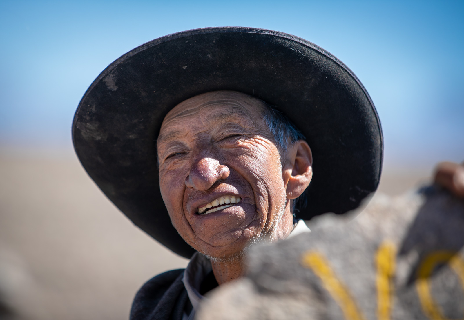 Old Peruvian man living in 5000 meters altitude