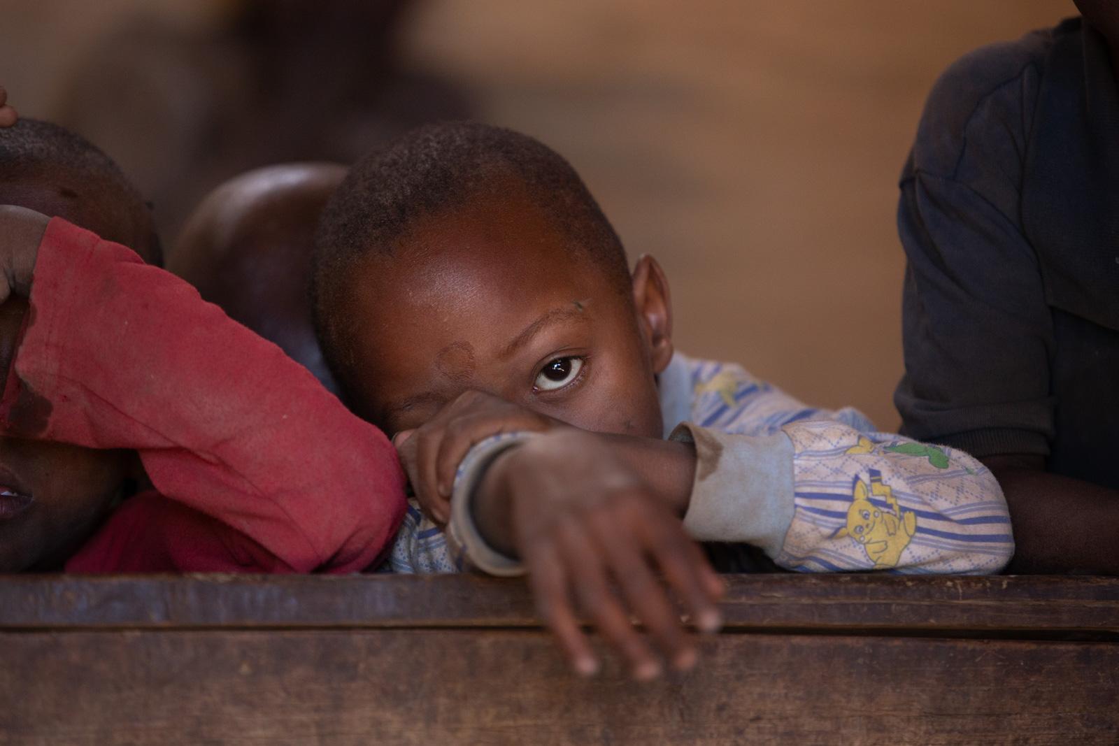 Boy in school in a Massai village in Tanzania